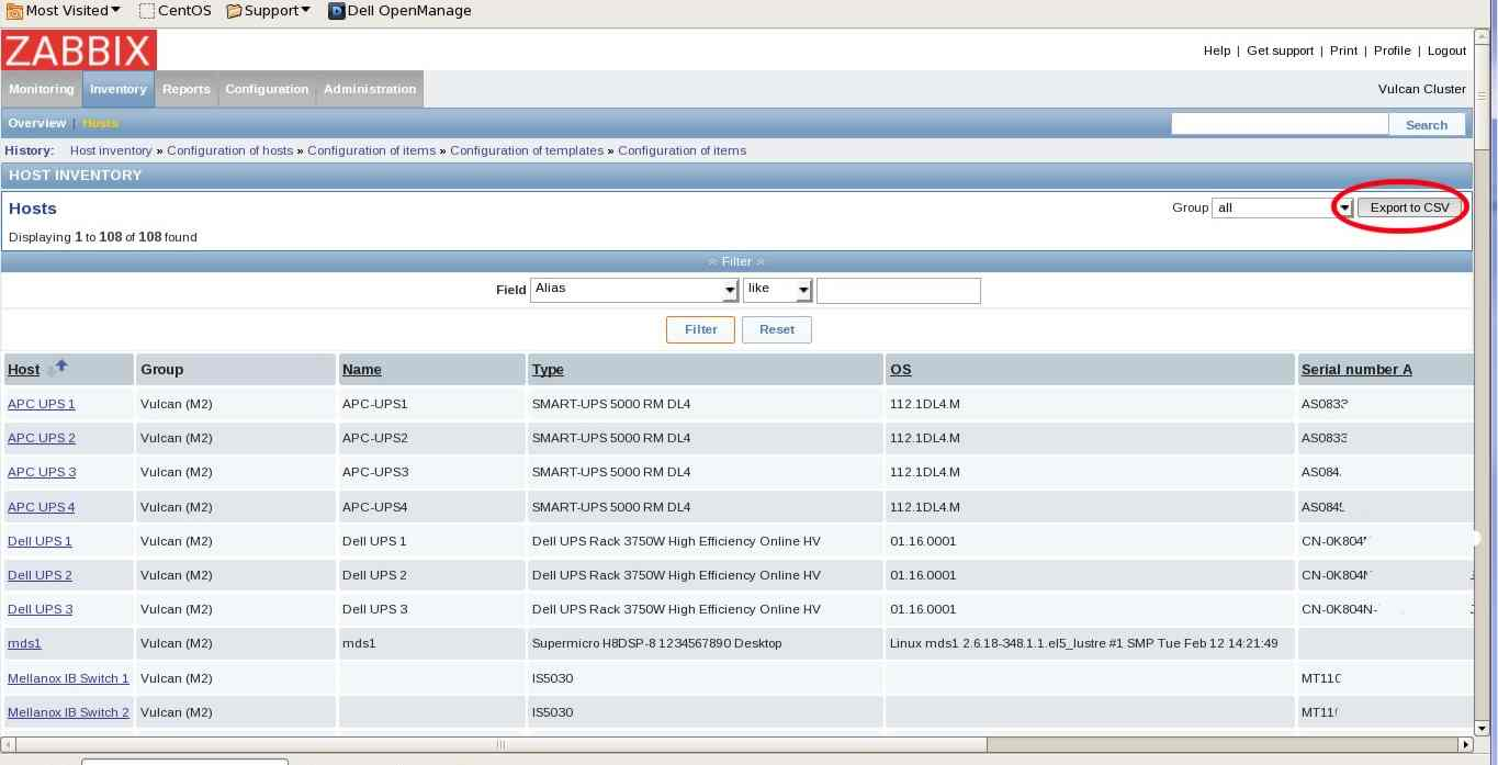 ZBXNEXT-2347] Export inventory data to CSV formated file  - ZABBIX